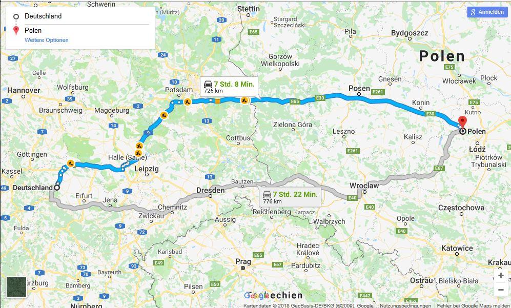 Deutschland-Polen Routenplaner